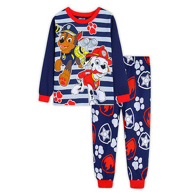 Paw Patrol Boys long sleeve cotton pjs pyjamas set sleepwear size 1-6 navy blue