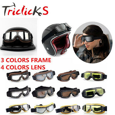 Leather Eyewear Goggles Aviator Pilot Glasses Retro Helmet Driving Motorcycle TR