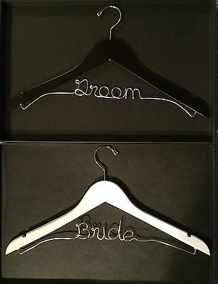 Bride & Groom Hangers Wooden with silver wire NWT Wedding Beautiful sheer bags