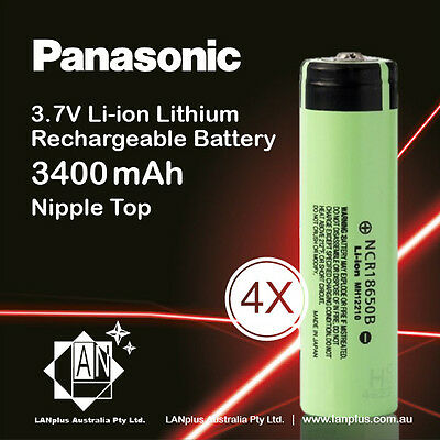 4x Panasonic NCR 18650 B Rechargeable Battery 3400mAh 3.7v Li-ion NippleT No PCB