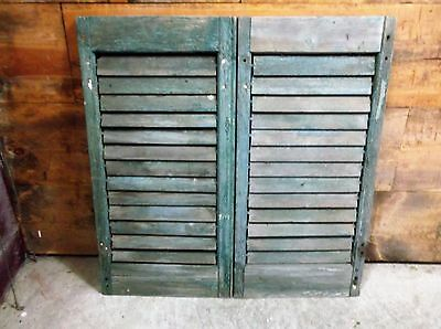 2 Vintage Green Wood Plantation Window Louver Shutters Architectural Salvage
