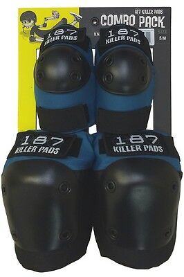 187 Killer Pads -Adult combo knee & elbow pads - Slate Blue ( XS , S/M , L/XL )