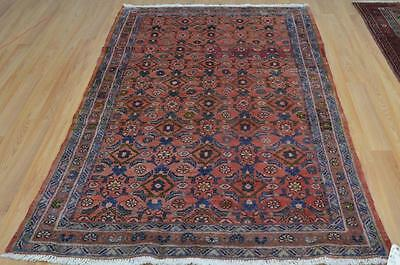4'4x6'10 Authentic Semi Antique Persian Tribal All Over Design Handmade Wool Rug