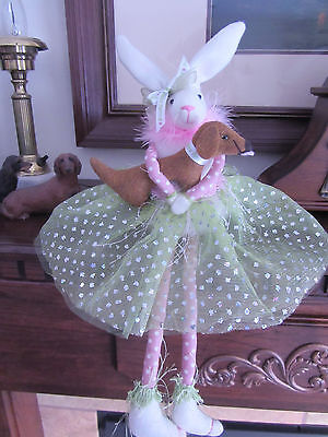 Glittery Bunny dangling legs hugging her Red/Brown Dachshund Easter Spring!