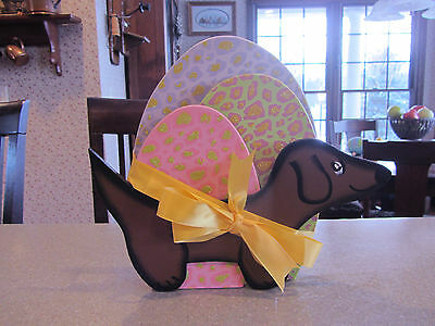 4 dimension Glittery EASTER Eggs & Red/Brown Dachshund Easter standing Decor