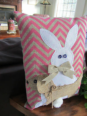 Burlap - look Spring EASTER Pillow with Bunny & Dachshund 16 x 13 inches