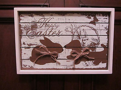 Rustic framed HAPPY EASTER Rabbit and Dachshund Spring Door/Wall Decor !