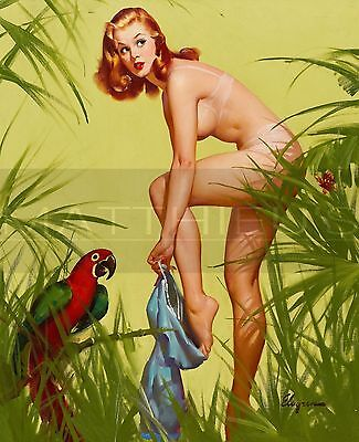 Gil Elvgren-Bare Essentials, Canvas/Paper Print, Pinup Girl, Tropical