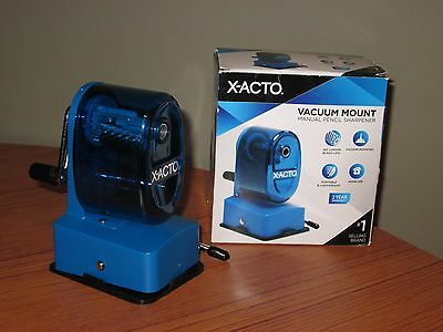 X-ACTO Vacuum Mount Manual Pencil Sharpener Blue Plastic Metal Components