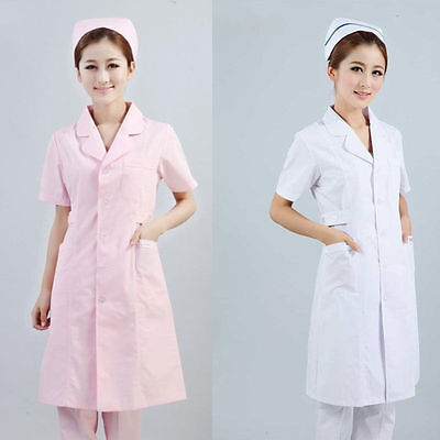 Lab Coat Medical Womens Classic Stylish Nurse Scrubs Doctor Gown Jacket Coat