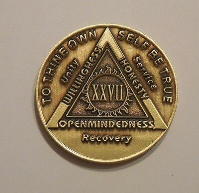 aa bronze alcoholics anonymous 27 year sobriety chip coin token medallion