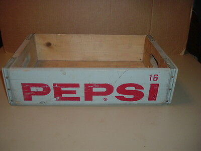 Vintage Pepsi Cola Advertising Wooden Box Bottle Carrier Crate Caddy