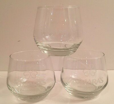 3 O'MARA'S Irish Country Cream Pat O'Mara Signature Clear Glasses Etched Squat