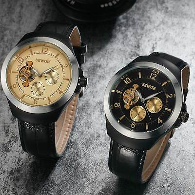 Mens Tourbillon Leather Strap Analog Mechanical Automatic Stainless Wrist Watch