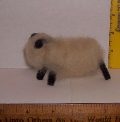 Vintage Adorable Sheep Real Wool and Pipe Cleaner Ears & Legs