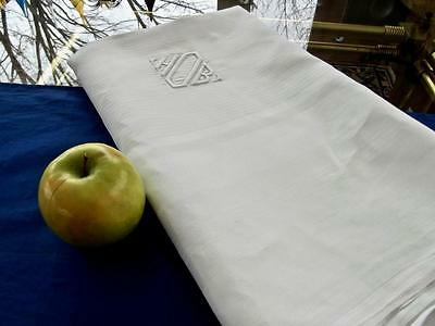 Antique White Irish Damask Linen 70x87 Tablecloth Geometric Stripes Monogram HOB