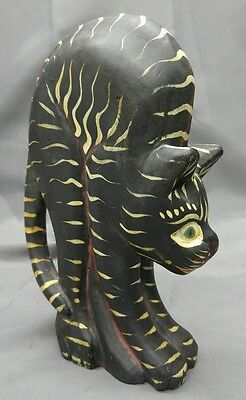 Hand painted carved wooden arched black cat figure wood carving