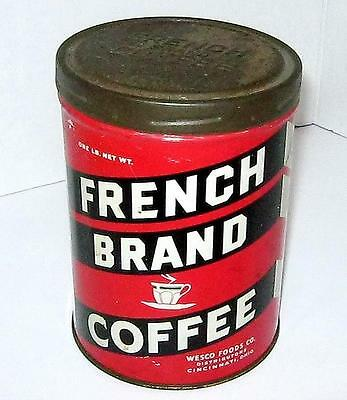 Vintage Advertising French Brand Red Black and White Vintage Tin Coffee Can  F-2