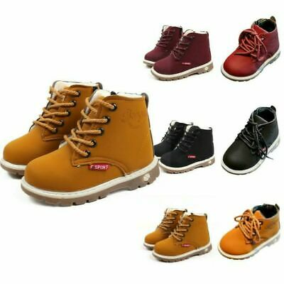 Kids Baby Boys Girl Winter Warm Solid Fur Lined Shoes Ankle Boots Martin Boots