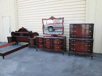 57861 Antique Mahogany Bedroom Set High Dresser + Mirror Full bed and 2 nightsta