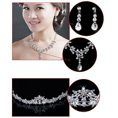 Crystal Rhinestone Necklace Earrings Crown Tiara Set Bridal Wedding Prom Jewelry