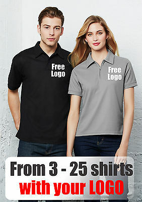 From 3 - 25 shirts Ladies Waffle Polo with Your Embroidered LOGO (Biz P3325)