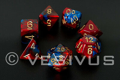 DICE Chessex Gemini BLUE/RED 7-Dice Set Marble Shiny d20 d10 d6 Superman 26429