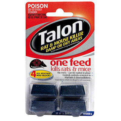 TALON RAT & MOUSE KILLER 4 ALL WEATHER BLOCKS 72g - KILLS IN 1 FEED