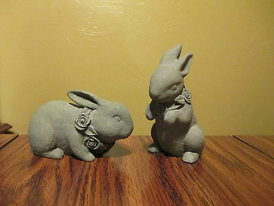 Set of 2 Green BUNNY RABBITS FIGURINES With Flower Necklaces -Stoneware