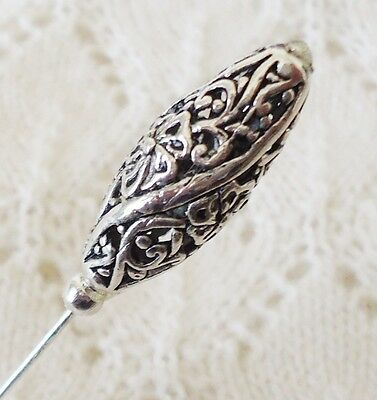 Silver Filigree Fancy Bead HatPin ~Lapel Hat Brooch Stick Pin - approx. 76mm