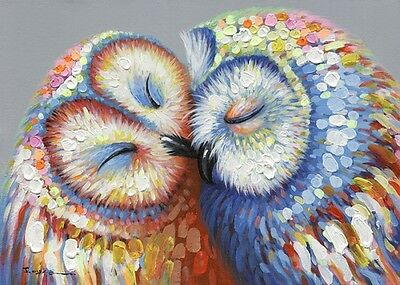 Kissing Owl Couple Canvas Print 50x70cm - Mounted and ready to hang