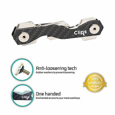 Clips- smart compact key holder keychain black- made of carbon fiber & stainless