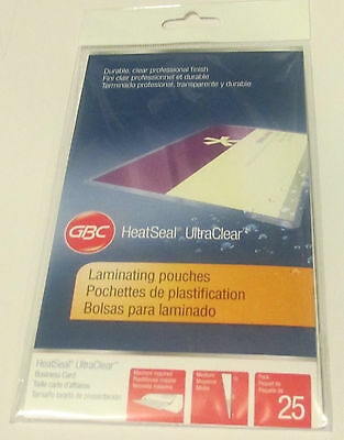 GBC HeatSeal UltraClear Business Card Laminating Pouches - 25 pack