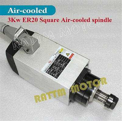 Square 3KW Air Cooled Spindle Motor ER20 220V 18000rpm for CNC Router Machine