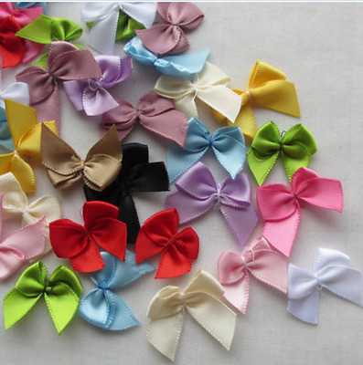 50pcs Mini Satin Ribbon Flowers Bows Gift Craft Wedding Decoration Upick