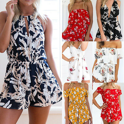 Women Casual Playsuit Ladies Jumpsuit Romper Summer Beach Dress Strappy Playsuit