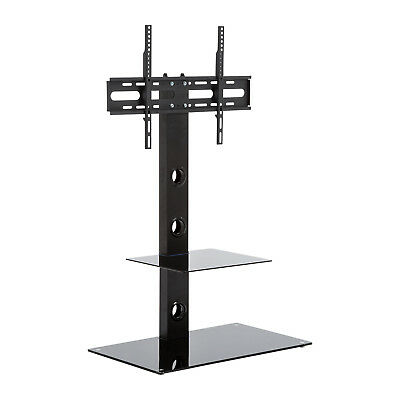 "CB22 Steel Black Glass TV Stand less than 24"" with bracket for 30 to 50 inch LED"