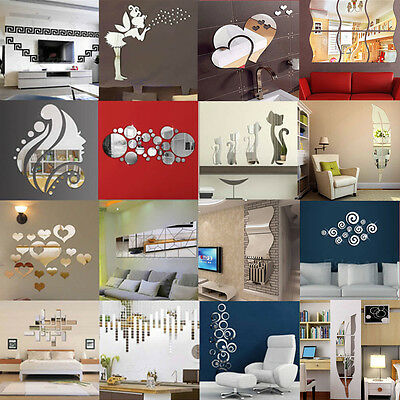 removable 3D Mirror Decal DIY Mural Wall Stickers Home Room DIY Decor Decoration