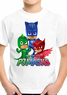 PJ Masks Gekko Catboy Owlette Superhero Kids Boys Girls Unisex White T shirt 392