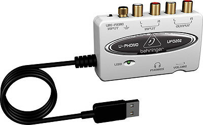 New Behringer U-PHONO UFO202 USB/Audio Interface w/ Built-in Phono Preamp