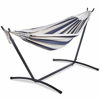 VonHaus 2 Person Garden Hammock with Metal Stand Outdoor Double Swing with Frame