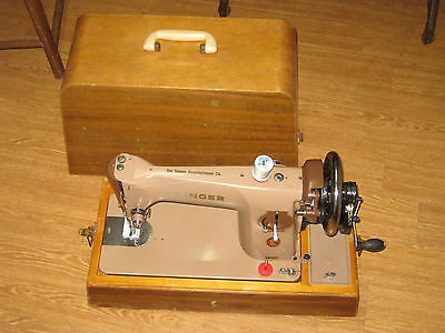 Singer 201 Converted Hand Sewing Machine With Wooden Carry Case.