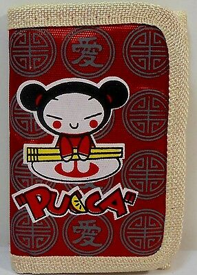JAPANESE ANIME PUCCA 5'' SLIM WALLET w/ ZIPPER & CORD UNUSED C