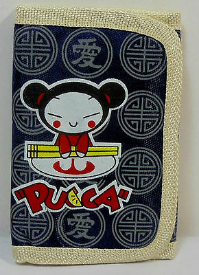 JAPANESE ANIME PUCCA 5'' SLIM WALLET w/ ZIPPER & CORD UNUSED E