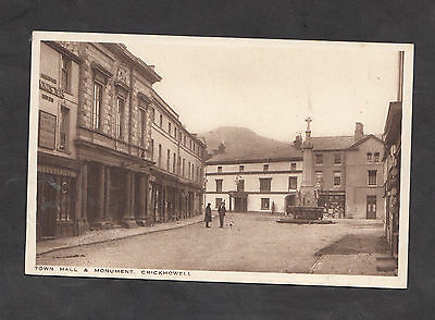 c1920s View of the Town Hall & Monument, Crickhowell, Powys, Wales