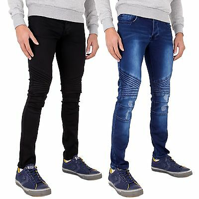 New Mens Ripped Jeans Super Stretch Skinny Denim Distressed Frayed Biker Jeans