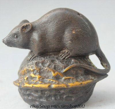 "4"" Chinese Bronze Gild walnut Feng Shui Zodiac Year Two Mouse Statue sculpture"