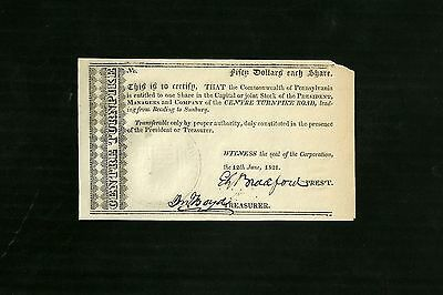 1821 Centre Turnpike Road Stock Bond Certificate Reading to Sunbury Pa with Seal