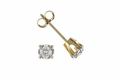 9CT Yellow Gold Diamond Round Solitaire Stud Earrings 0.33CT New and Giftbox