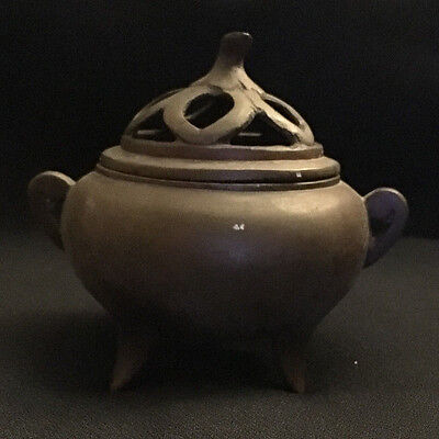 Victorian Cast Iron Incense Burner Flower ? Top Opening